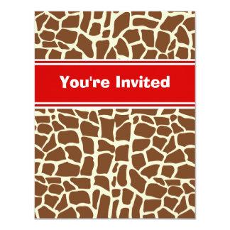 Estampado de animales del modelo de la jirafa invitación 10,8 x 13,9 cm