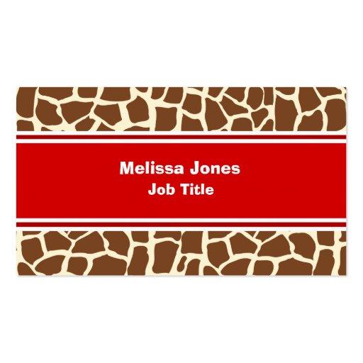 Estampado de animales del modelo de la jirafa tarjeta de negocio