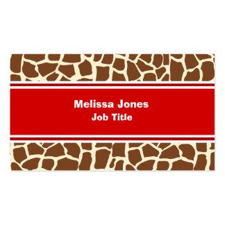 Estampado de animales del modelo de la jirafa tarjetas de visita