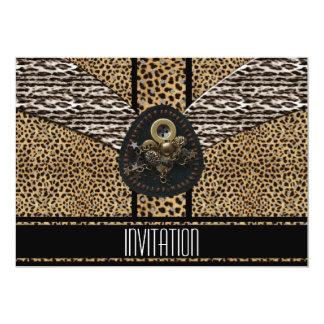 Estampado de animales del negro del leopardo de la invitación 12,7 x 17,8 cm