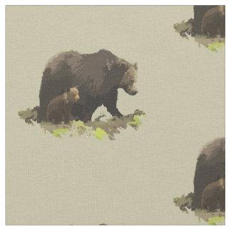 Estampado de animales del oso y del cachorro de tela