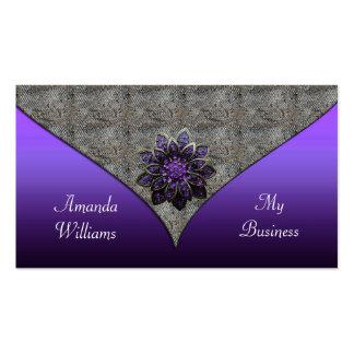 Estampado de animales floral púrpura de la joya de tarjetas de visita