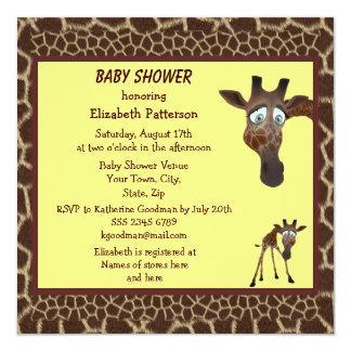 Estampado de animales lindo de las jirafas de la invitación 13,3 cm x 13,3cm