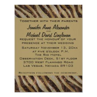 Estampado de animales metálico de la cebra del invitación 10,8 x 13,9 cm
