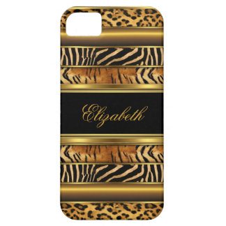 estampado de animales mezclado del oro con clase iPhone 5 protectores