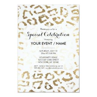 Estampado de animales moderno del falso oro invitación 8,9 x 12,7 cm