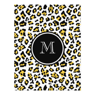 Estampado de animales negro amarillo del leopardo flyer personalizado