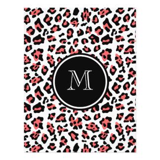 Estampado de animales negro coralino del leopardo tarjetas informativas