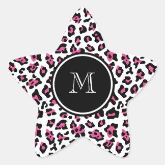 Estampado de animales negro del leopardo de las pegatina forma de estrella