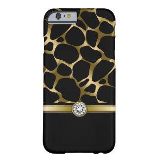 Estampado de animales negro del leopardo del oro funda barely there iPhone 6