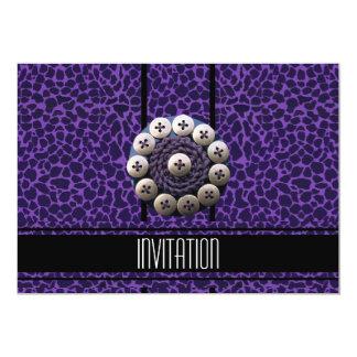 Estampado de animales negro púrpura de la invitación 12,7 x 17,8 cm