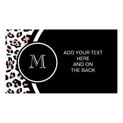 Estampado de animales negro rosado del leopardo co plantilla de tarjeta de visita