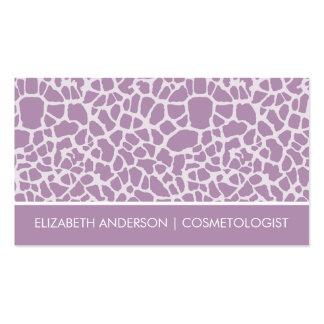 Estampado de animales púrpura elegante de la tarjetas de visita