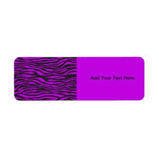 Estampado de animales, rayas de la cebra - púrpura etiqueta de remite