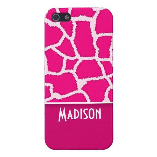 Estampado de animales rosado brillante de la jiraf iPhone 5 coberturas
