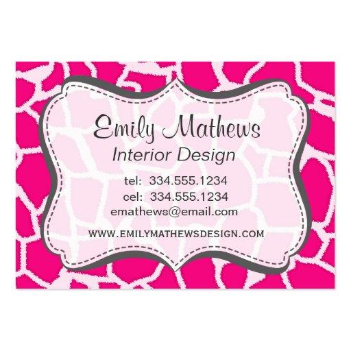 Estampado de animales rosado brillante de la jiraf plantilla de tarjeta personal
