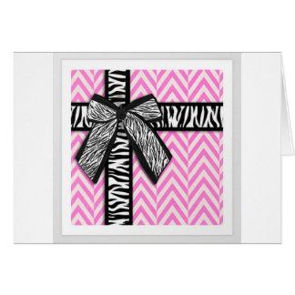 Estampado de animales rosado con diseño del arco tarjeta de felicitación