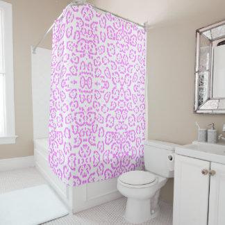 Estampado de animales rosado de neón del guepardo cortina de baño