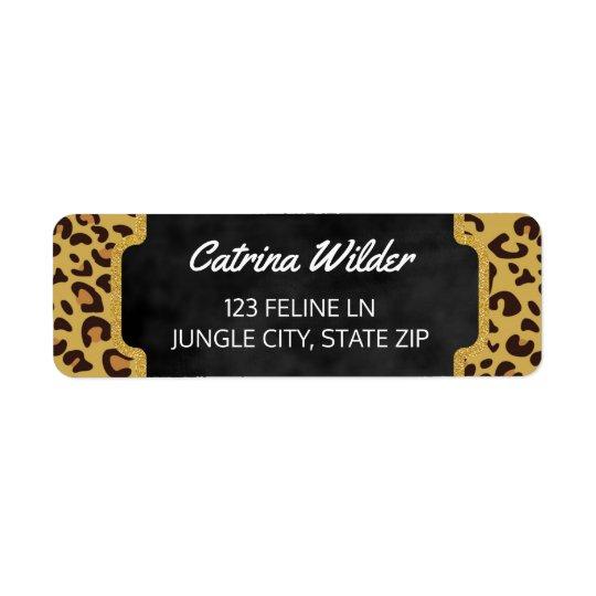 Estampado de animales salvaje del oro del guepardo etiquetas de remite
