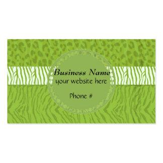 Estampado de animales salvaje verde tarjetas de visita
