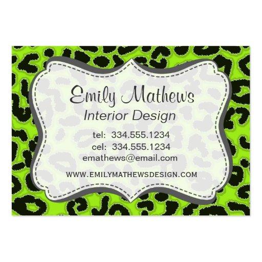 Estampado de animales Verde-Amarillo del leopardo Plantillas De Tarjetas De Visita