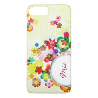 estampado de flores abstracto con el marco para el funda iPhone 7 plus