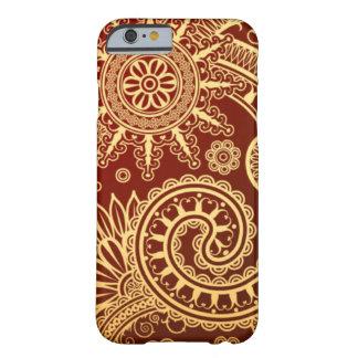 Estampado de flores abstracto del rojo y del oro funda de iPhone 6 barely there