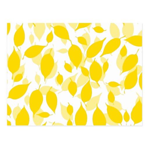 Estampado de flores amarillo decorativo postales