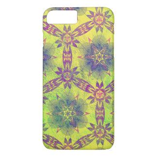 Estampado de flores amarillo y púrpura bonito funda iPhone 7 plus