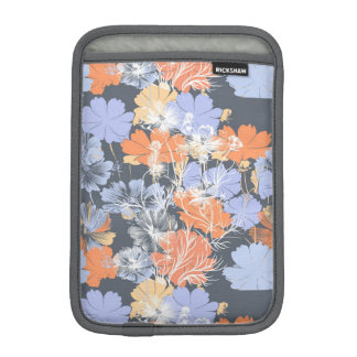 Estampado de flores anaranjado violeta gris del funda para iPad mini
