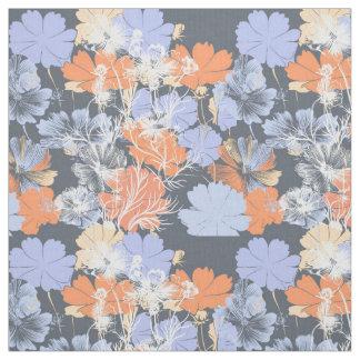 Estampado de flores anaranjado violeta gris del tela
