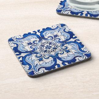 Estampado de flores antiguo de la teja de Azulejo Portavasos
