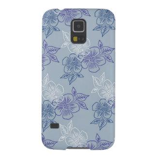 Estampado de flores azul púrpura blanco femenino funda para galaxy s5