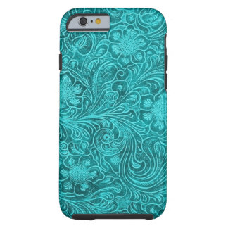 Estampado de flores azulverde del ante funda de iPhone 6 tough