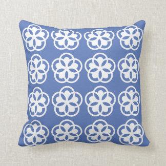 estampado de flores blanco en azul claro cojín decorativo