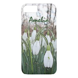 Estampado de flores blanco, snowdrops de la funda iPhone 7