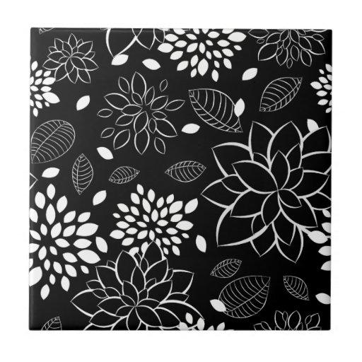 estampado de flores blanco y negro azulejos cer micos zazzle