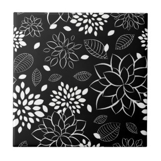 Azulejos flores blancas negras - Azulejo negro ...