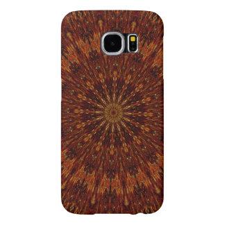 Estampado de flores de Brown oscuro del diseño del Funda Samsung Galaxy S6