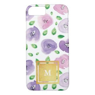 Estampado de flores de la acuarela del monograma funda iPhone 7