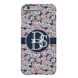 Estampado de flores de moda con el monograma de funda barely there iPhone 6