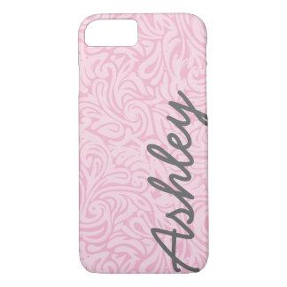 Estampado de flores de moda con nombre - rosa y funda para iPhone 8/7
