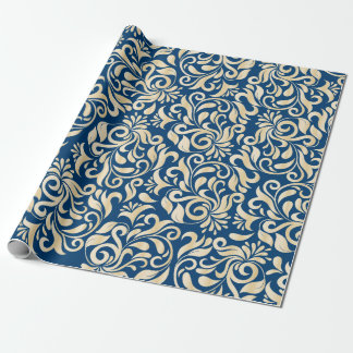 Estampado de flores de oro azul elegante del papel de regalo