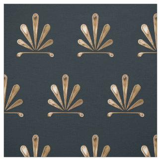 Estampado de flores de oro con el fondo azul tela