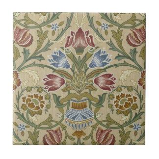 Estampado de flores del brocado de William Morris Azulejo Cuadrado Pequeño