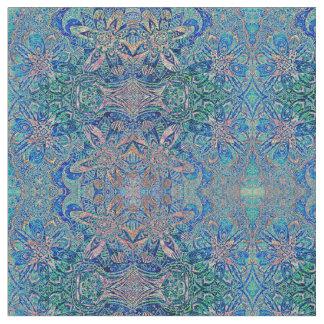 Estampado de flores del extracto del verde azul tela