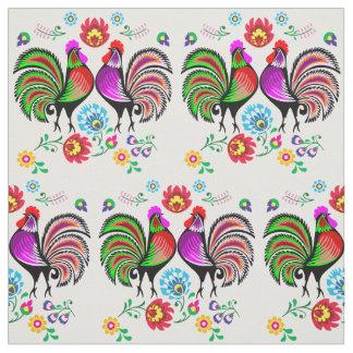Estampado de flores del gallo de Boho Tela