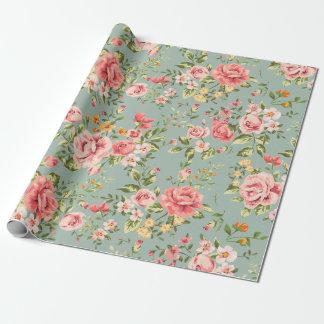 Estampado de flores del jardín del vintage del papel de regalo