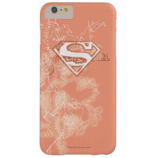 Estampado de flores del melocotón de Supergirl Funda De iPhone 6 Plus Barely There