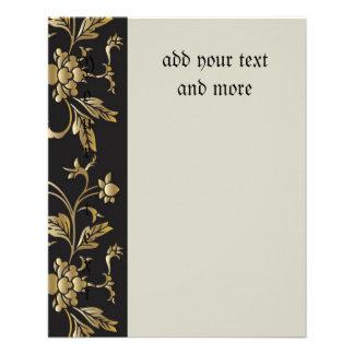 Estampado de flores del oro, nouveau del arte, folleto 11,4 x 14,2 cm